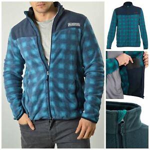 Mens Teal Grey Check Soft Warm Zip Front Fleece Jacket Size 2XL 3XL