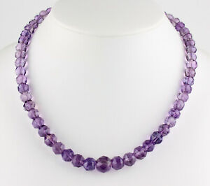 Classy Amethyst Necklace Precious Stone Faceted Ball Purple Necklace Gift 48 CM