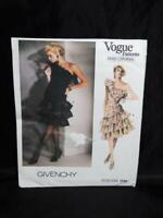 Vintage Vogue 1702 Givenchy Paris Original Dress Size 6 Sewing Pattern Ruffle