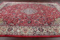 VINTAGE Traditional Floral Red Sarouk Area Rug Hand-made Living Room Wool 10x13