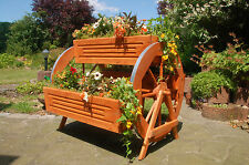 Blumentreppe Pflanztreppe Blumenbank Holz 3x Blumenkasten 2x Wagenrad 95cm breit