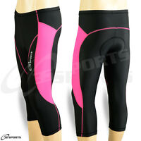 Ladies Cycling Shorts Padded Three Quarter 3/4 Coolmax Legging Pink S- M- L- XL