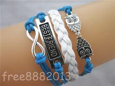 Multi-layer Mix Infinity BEST FRIEND Double Owls Charms Leather Wrap Bracelet