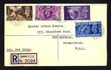 GR BRIT STAMPS #271-274 FDC — OLYMPICS REGISTERED 1948