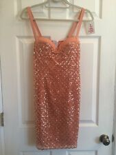 COLLETTE DINNIGAN Peach Embellished Sequin Cocktail Dress Small ORIG $1000
