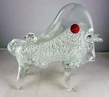 Murano Italian Studio Art Glass Bull Figurine - Silver Aventurine