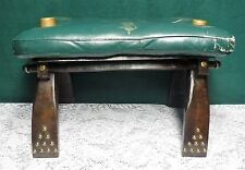 Vintage Antique Camel Saddle Ottoman Stool w/ Leather Pad