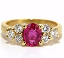 GIA Certified 1.74ct natural no heat red ruby diamonds ring 18kt modern classic