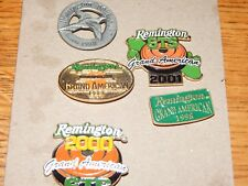 5 VINTAGE REMINGTON GRAND AMERICAN  TRAP / SKEET SHOTGUN TOURNAMENT PINS