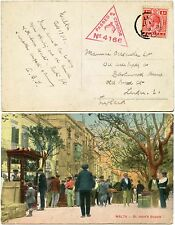 MALTA WW1 CENSORED POSTCARD PPC 1917 KG5 1d