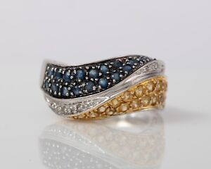 10ct White Gold Yellow Spinel & Blue Spinel Ring with Diamonds - Size: O 1/2