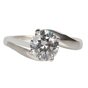 2.20Ct D-Color Round Shape Solitaire Women's Engagement Ring In 14KT White Gold