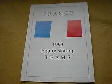 El folleto de los equipos de Francia 1993 patinaje artístico