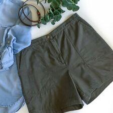 Rafaella Women's Chino Shorts Size 12 Cotton Classic High Rise Green