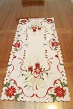 Tailor Made Embroidered Christmas Red Coffee Table Runner 40 X 90 cm for Xmas
