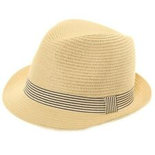 Paper Straw Trilby Panama Sun Crushable Summer Hat With Stripey Band 3 Sizes