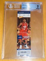 2003-04 LeBron James FLEER AUTHENTIX TICKET STUDS #1 BGS 9 9.5 sub PSA big signs