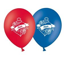 "Mum Love Heart Banner  12""   Red and Royal Blue  Assorted  Balloons pack of 20"