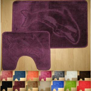 Dolphin Bath Mat Set 2 Piece Non Slip Soft Rubber Pedestal Mat Toilet Bathroom