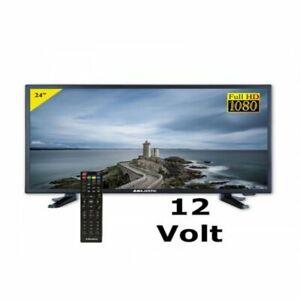 """Combo Tv Televisore 24"""" MAJESTIC 12V HD DVBT2 12Volt Camper CAMION AUTO BARCA"""