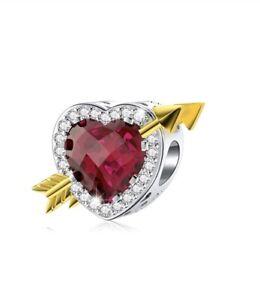 White Gold Finish Ruby Heart Arrow Created Diamond Charm Dubai Sahara Collection