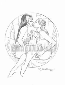 Sexy MORGANA LE FEY & GUINEVERE original fantasy pin-up art by JOE ORSAK