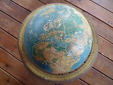 Vintage MID-CENTURY MODERN GLOBE WITH BASE Patina Crams Physical Political C-70