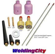 "TIG Welding Torch 17/26 Kit Lg Gas Lens-Tungsten (Red) 3/32-1/8"" T60A US Seller"