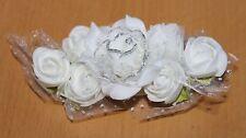 2 White Rose Flower Hair Clips * Bridal Bridesmaid Flowergirl Communion