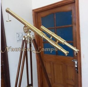 Brass Nautical Maritime Double Barrel Telescope 39 Inch Spyglass Tripod Stand