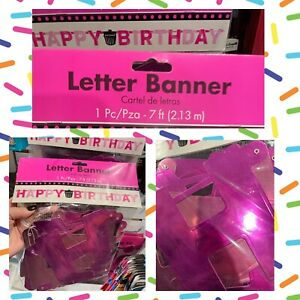 Happy Birthday ~ Pink JUMBO BANNER Party DECORATION KIT Magenta Metallic