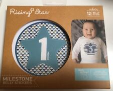 Rising Star Baby Boys Monthly Milestone Photo Prop Belly Stickers, 12 Stickers
