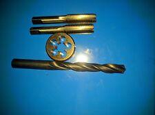 """UNF 9/16"""" x18 RH tungsten Hand tap Inter Plug+OD 38mm die button & tapping Drill"""