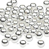 100 Silver Plated Brass Smooth 5mm Round Beads with 1.2mm Hole