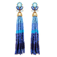 Blue Acrylic Beads Chain Handmade Long Tassel Earrings Wholesale ed01090b