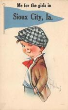 Sioux City, IA Pennant Comic ca 1910s Twelvetrees Artist-Signed Vintage Postcard