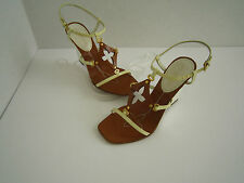 Louis Vuitton White Tan Patent Leather Quatrefoil Monogram Wedge Sandals 36 US 6