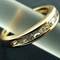 Eternity Ring Real 18k Yellow G/F Gold Ladies Genuine Diamond Simulated Design
