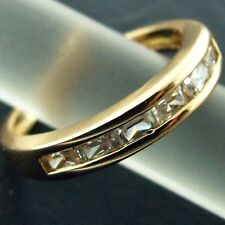 RING ETERNITY REAL 18K YELLOW G/F GOLD GENUINE DIAMOND SIMULATED