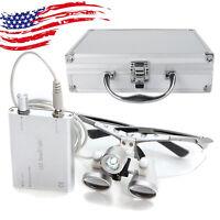 Dental Loupes 3.5X 420 Surgical Medical + LED Head Light Lamp +Aluminum Case Box