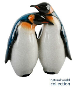 Natural World Animal Polished Stone Effect Two Penguins Together Gift Ornament