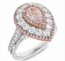 6.20 TCW Pink Pear Brilliant Cut Diamond Double Halo 925 Silver Engagement Ring