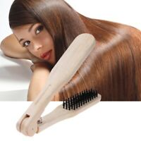 DIY Salon Hairdressing Hair Straightener Wooden Anti-static Dual-Brush Comb