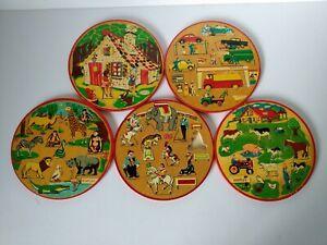 "Vintage Simplex Wood Wooden Puzzle Holland Dutch Toy Game 7.5"" Round LOT 5"