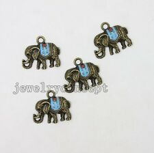 10x Nice Antique Bronze&Enamel Alloy Animal Elephant Charms Pendants Findings J
