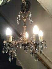 antique Glass Chandelier With Faceted Drops