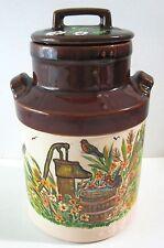 Vtg Betty Ford McCoy Pottery Milk Jug  Rooster Farm Hand Painted Folk Art Watt