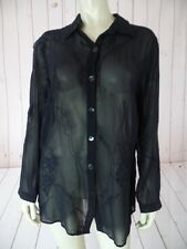 Chicos Top Blouse 1 New Black Sheer Silk Button Front Applique Embroidery