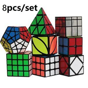 8pcs Set Brain Cube Magic Mind Game Rubic Rubick Gift Kid Adult Rubix Puzzle Toy