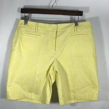 Lands End Shorts 8 Womens Geo Print Yellow White Mid Rise Chinos Casual NWT